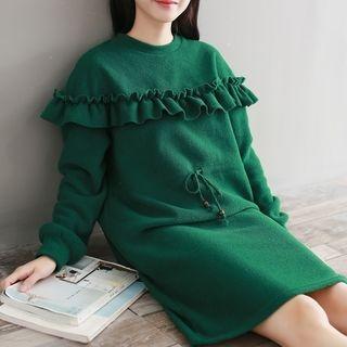 Frilled Long-Sleeve Shift Dress 1062588994