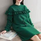 Frilled Long-Sleeve Shift Dress 1596