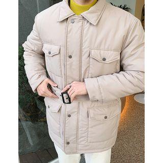 Pocket-detail Padded Jacket With Belt