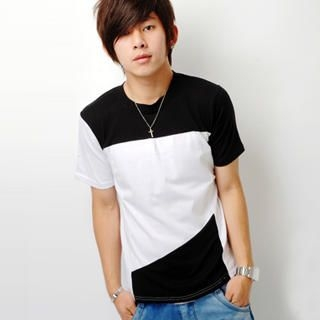 Buy SLOWTOWN Short-Sleeve Color-Block T-Shirt 1022963718