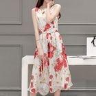 Floral Print Sleeveless Midi Chiffon Dress 1596