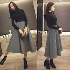 Set: Knit Top + Striped Midi Skirt 1596
