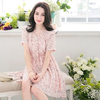Short-Sleeve V-Neck Printed Dress 1050627416