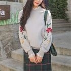 Lace-Trim Flower-Embroidered Cotton Sweatshirt 1596