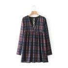 Long-Sleeve V-Neck Check Dress 1596