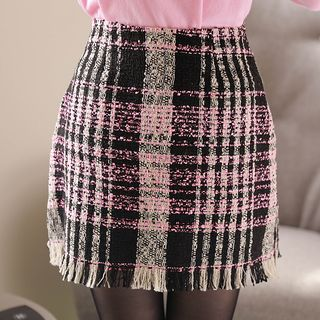 MyFiona H-Line Plaid Tweed Miniskirt