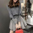 Set: 3/4-Sleeve Sweater + Long-Sleeve A-line Dress 1596
