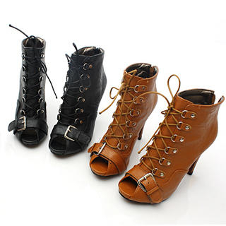 Buy KAWO Lace-Up Peep-Toe Ankle Boots 1022788362