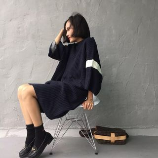 Image of Contrast Trim Chunky Sweater Dress
