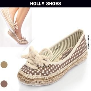 Buy Holly Shoes Lace Front Check Flats 1022489105