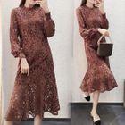 Long-Sleeve Lace Midi Dress 1596