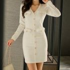 Buttoned Sheath Dress 1596