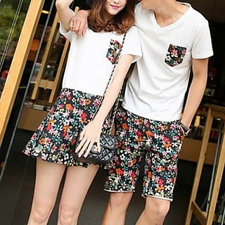 Couple Matching Set: Short-Sleeve T-shirt + Floral Print Shorts / Skirt 1061247167