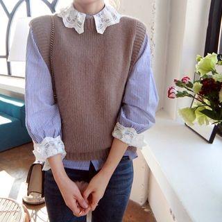 Faux-Pearl Trim Sleeveless Knit Top 1063520960