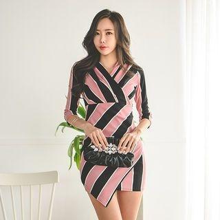 3/4-Sleeve Stripe Wrap-Front Dress 1065844530