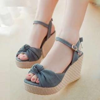 Denim Bow-Accent Wedge Sandals