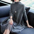 Lace Panel Mock-Neck Knit Dress 1596