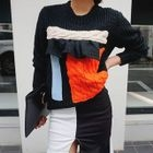 Frilled-Trim Color-Block Knit Top 1596
