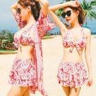 Set: Paisley Patterned Bikini + Swim Skirt + Cover-Up 1596