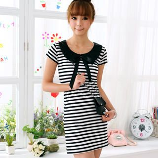 Buy 59 Seconds Striped Peter-Pan Collar Dress Black and White – One Size 1022930673