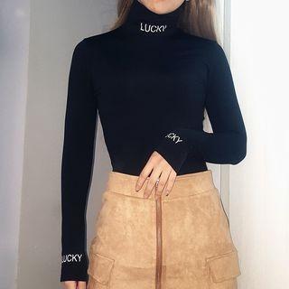 Mock Neck Lettering Bodysuit