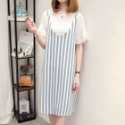 Set: Flutter-Sleeve Top + Striped Pinafore Dress 1596