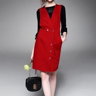 Set: 3/4-Sleeve Knit Top + Sleeveless Pinafore Dress 1053140083