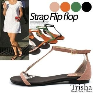 Picture of Trisha T-Strap Thong Sandals 1022940366 (Sandals, Trisha Shoes, Korea Shoes, Womens Shoes, Womens Sandals)