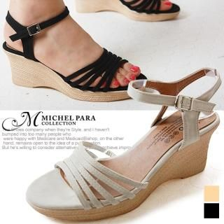 Picture of MICHEL PARA COLLECTION Ankle Strap Wedge Sandals 1022946597 (Sandals, MICHEL PARA COLLECTION Shoes, Korea Shoes, Womens Shoes, Womens Sandals)