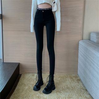 Lettering Cropped Skinny Jeans