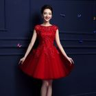 Cap-Sleeve Lace Appliqu  Mini Prom Dress 1596