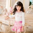 Kids Ruffle Hem Flower Applique Mini Skirt 1596