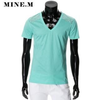 Buy MINE M HOMME V-Neck Studded T-Shirt 1022907474