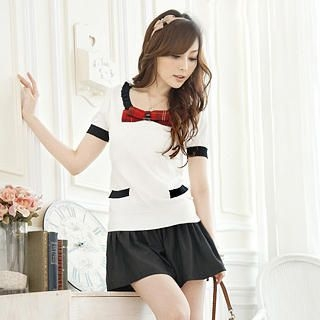 "Buy Tokyo Fashion Color-Block ""Plaid-Bow"" Dress 1022937048"