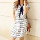 Short-Sleeve Cutout-Back Striped Dress 1596