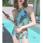 Set: Printed Halter Bikini + Slit Midi Skirt 1596