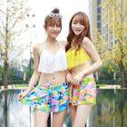 Set: Lace Bikini Top + Floral Print Bikini Bottom + Shorts 1596