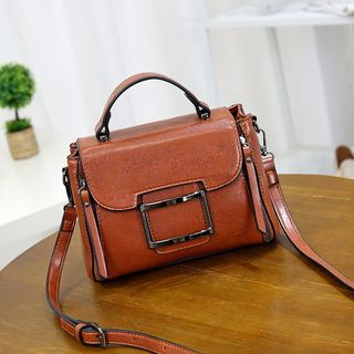 Image of Buckled Genuine Leather Crossbody Bag