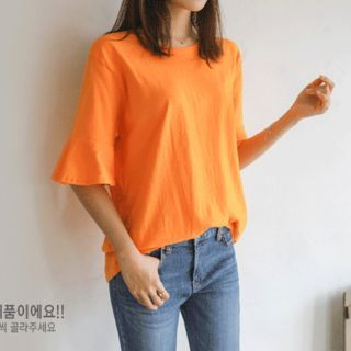 Set of 2: Ruffle-Sleeve Cotton T-Shirt 1059443018