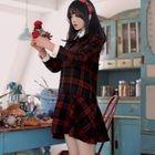 Plaid Collared Long Sleeve Mini Dress 1596