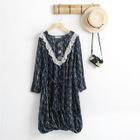 Long-Sleeve Lace-Trim Chiffon Dress 1596