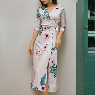 Image of 3/4-Sleeve Floral Slit A-Line Midi Dress