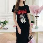 Dog Sequined Short Sleeve T-Shirt Dress 1596