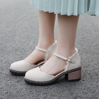 Image of Lace Trim Ankle Strap Block Heel Pumps
