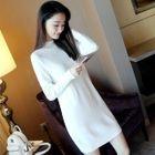 Long-Sleeve Mock-Neck Sweater Dress 1596