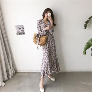 Image For Buttoned Floral Chiffon Long Dress with Sash
