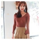 Cutaway-Shoulder Rib-Knit Top 1596