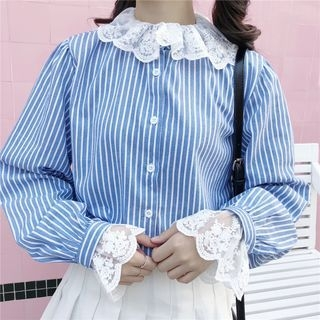 Lace Panel Pinstripe Long-Sleeve Blouse