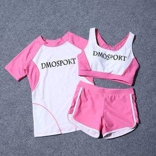 Set: Lettering Bikini Top + Swim Shorts + Cover-up 1062326489