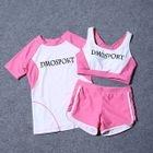 Set: Lettering Bikini Top + Swim Shorts + Cover-up 1596